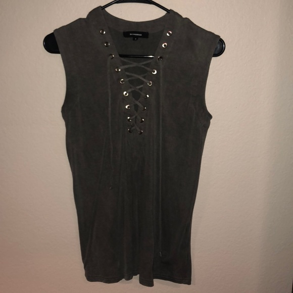 Olivaceous Tops - Lace-Up Tank